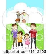 Stickman Family Attend Church Illustration