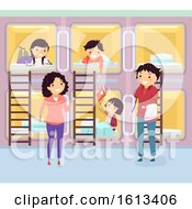 Poster, Art Print Of Stickman Family Capsule Hotel Room Illustration
