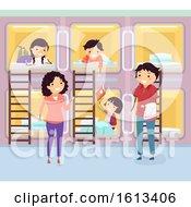 Stickman Family Capsule Hotel Room Illustration