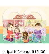 Stickman Family Kids Girl Doll House Play