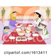 Stickman Family Muslim Pray Before Meal