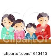 Stickman Family Pray Rosary Church Illustration