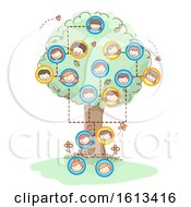Stickman Family Tree Faces Illustration