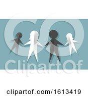Paper Doll Interracial Family Illustration