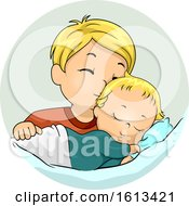 Kid Boy Kiss Baby Sibling Illustration