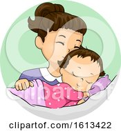 Poster, Art Print Of Kid Girl Kiss Baby Sibling Illustration