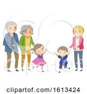 Stickman Kids Foster Siblings Reunite Illustration