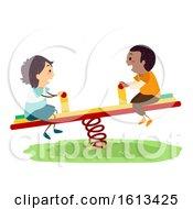 Poster, Art Print Of Stickman Kids Boy Seesaw Playground Illustration