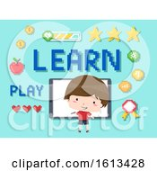 Poster, Art Print Of Kid Boy Interactive Whiteboard Games Illustration