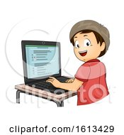 Poster, Art Print Of Kid Boy Computer Based Test Illustration