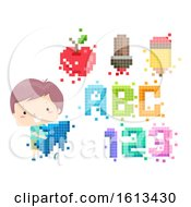 Kid Boy Education Apps Pixel Arts Illustration