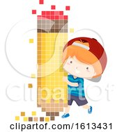 Poster, Art Print Of Kid Boy Pencil Pixel Art Illustration