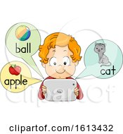 Kid Boy Picture Dictionary Tablet Illustration