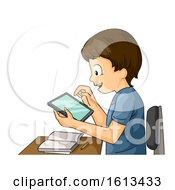 Kid Boy Tablet Classroom Illustration
