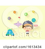 Kid Boy Tablet Coding Robot Illustration