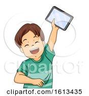Kid Boy Tablet Happy Illustration