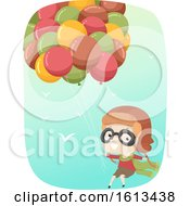 Kid Boy Aviator Balloons Illustration