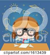 Kid Boy Aviator Paper Plane Illustration