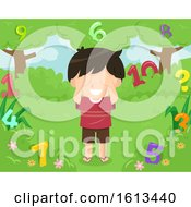 Poster, Art Print Of Kid Boy Hide Seek Numbers Illustration