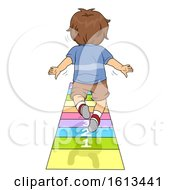 Kid Boy Standing Long Jump Test Illustration