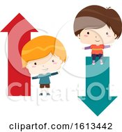 Poster, Art Print Of Kids Boy Arrow Up Down Illustration