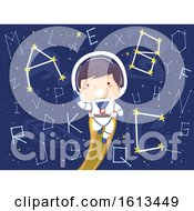 Poster, Art Print Of Kid Boy Astronaut Constellation Alphabet
