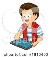 Kid Boy Draw Tablet Illustration