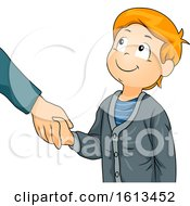 Poster, Art Print Of Kid Boy Greet Shake Hands Illustration