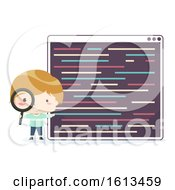 Kid Boy Find Programming Bug Illustration
