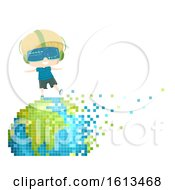 Kid Boy Earth Pixel Art Illustration