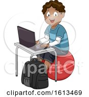 Kid Boy Laptop Exercise Ball Illustration