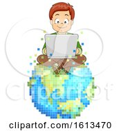 Kid Boy Laptop Virtual World Illustration