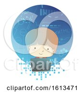 Kid Boy Programming Laptop Illustration
