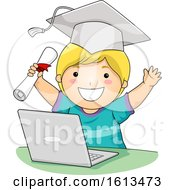 Kid Boy Virtual School Graduate Illustration