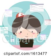 Kid Boy Write Code Laptop Illustration