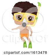 Kid Black Boy Snorkeling Illustration