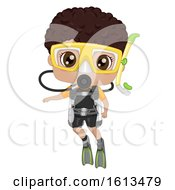 Kid Boy Black Scuba Dive Illustration