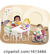 Stickman Kids Laugh Wheelchair Illustration