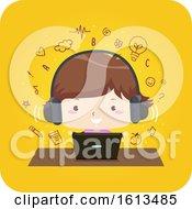 Kid Girl Laptop Earphone Learning Illustration