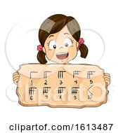 Kid Girl Babylonian Numeral System Illustration