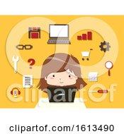 Kid Girl Web Development Illustration