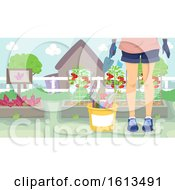 Girl Gardening Illustration