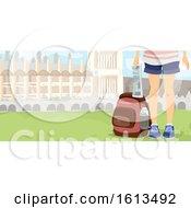 Poster, Art Print Of Girl Half Body Explorer Map Illustration