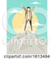 Girl Wanderlust Mountain Top Illustration