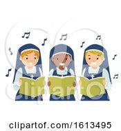 Stickman Girls Nun Singing Illustration