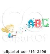 Poster, Art Print Of Kid Girl Laptop Pixels Illustration