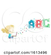 Kid Girl Laptop Pixels Illustration