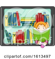 Kid Girl Tablet Digital Library Illustration