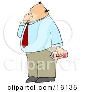 Disgusted Businessman Plugging His Nose To Avoid Smelling A Nasty Odor And Holding A Can Of Air Freshener Spray Clipart Illustration by Dennis Cox