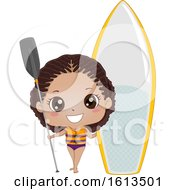 Kid Girl Black Paddleboarding Illustration